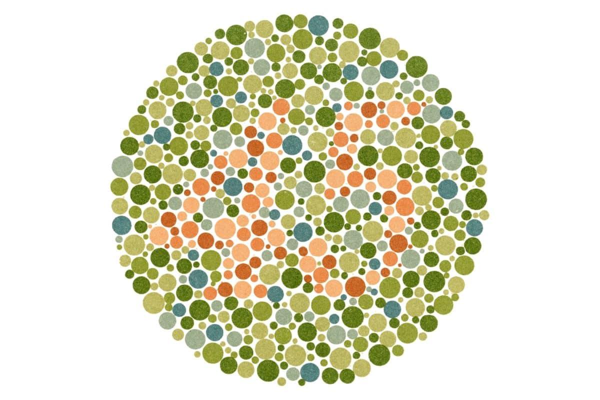 Rot-Grün-Sehschwäche (Farbenblindheit) – Ishihara-Farbtafel 45
